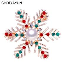 SHDIYAYUN New High Guality Pearl Brooch Snowflake Brooch For Women Fashion Brooch Pins Natural Freshwater Pearl Jewelry Gift цена и фото