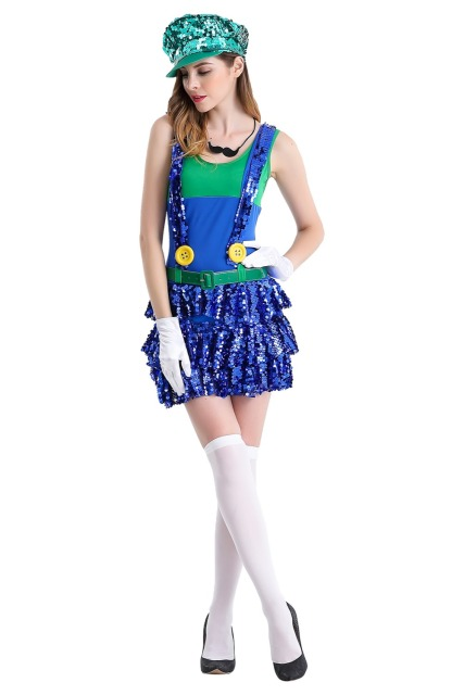 anime super mario costume super mary bro cosplay adult women plumber uniform halloween costume for