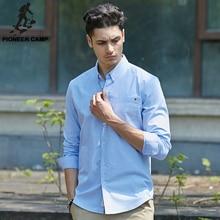 Pioneer Camp long sleeve slim fit solid male shirt PU27