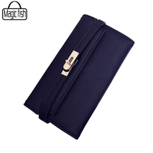 Фотография 2017 Fashion Lock Wallet For Ladies Women Wallet Quality Leather Wallet Elegant Female Purses Ladies Wallets Women