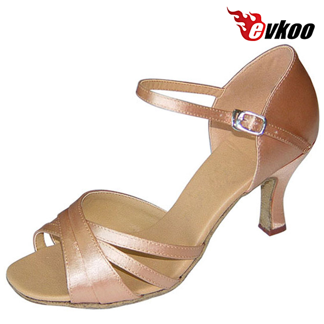 Evkoodance Black Tan Leopard Woman Dance Shoes 7cm Heel Height Professional  Satin Soft Sole Latin Shoes Evkoo-095 133d527b0af6