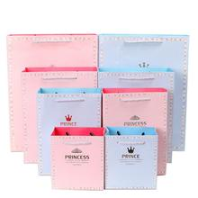 5pcs Prince and Princess Romatics Gift Paper Bag Portable Suitable for Party Childrens Day Birthday