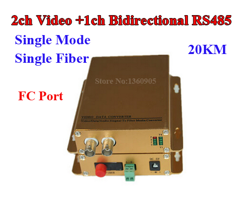 Fiber Optical Converter 2 Channel Video + 1ch bidirectional RS485 Data transmitter & receiver For CCTV Gateways Control 20KM FC rs232 to rs485 converter with optical isolation passive interface protection