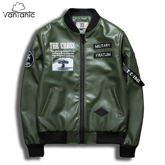 2187350883 Vantanic Leather Jacket Men Coat PU Leather Jacket Printed Military  Patchwork Design Bomber Jacket Jaqueta Masculina JTC7PU