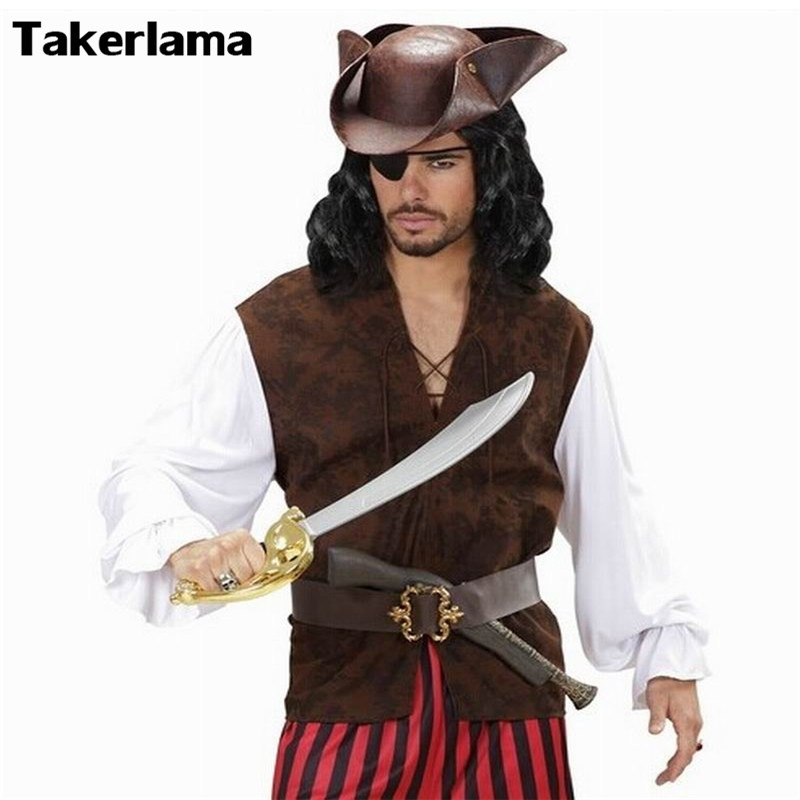 Pirate Hat Pirates of The Caribbean Pirate Captain Hat Cosplay Party Jack Triangle Hat Faux Leather Unisex Pirate Halloween Cap