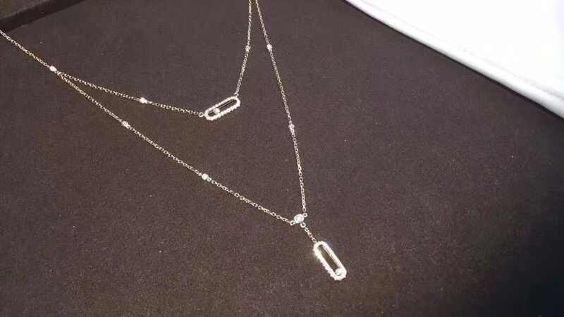 925 sterling silver Fashion two move Pendant Necklace Double Layer Chain Jewel Zircons For Women Famous Necklace Brand Jewellry