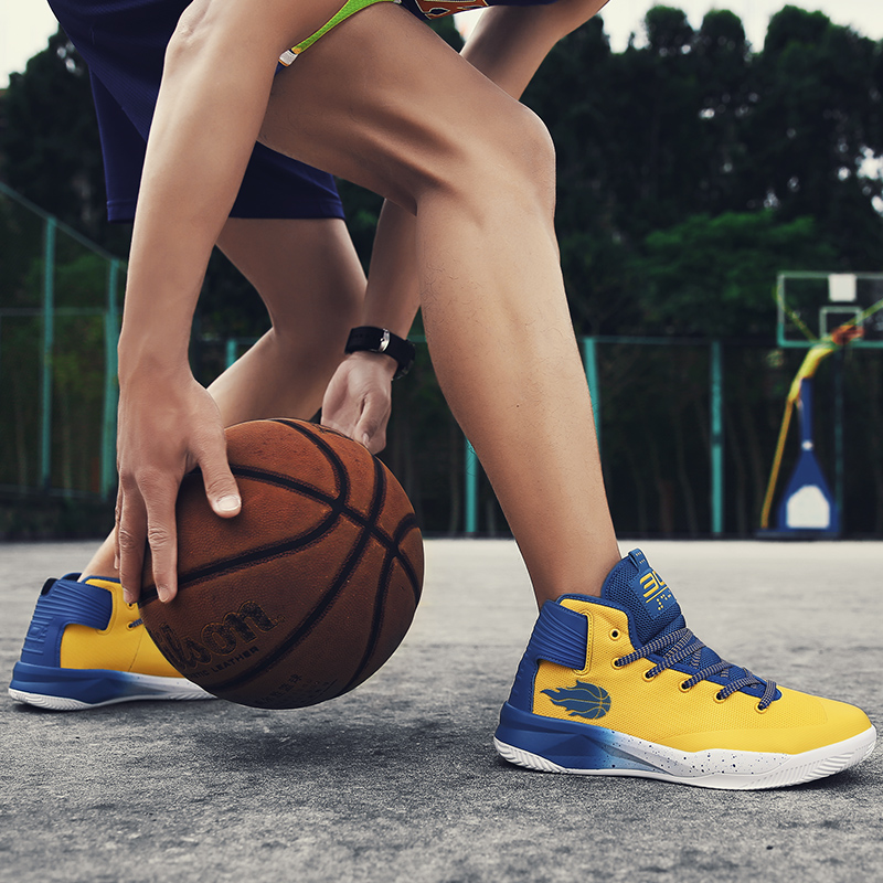 Youth Trend Couple Basketball Shoes Breathable Shoes Youth Basketball Game Boots Yellow Professional Basketball Men Sports Shoes