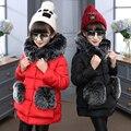 Детская одежда модные девушки зимняя куртка большой меховой воротник с капюшоном верхняя одежда пальто хлопка проложенный теплые дети девушка зимнее пальто