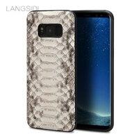 LANGSIDI marque cas de téléphone portable peau de python naturel couverture téléphone cas Pour Samsung Galaxy S8 téléphone portable couverture tous faits à la main personnalisé