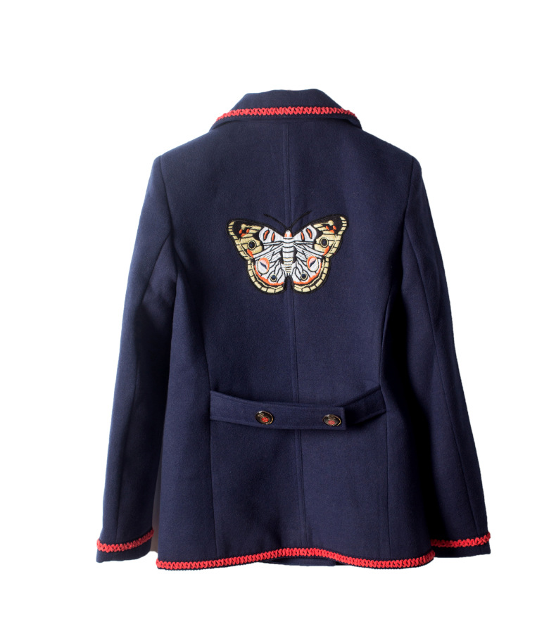 Vintage Embroidery 2018 Women Autumn And Jackets Winter Blue Tweed Coats Butterfly Cardigans Clothes Runway Designer Ladies q4xra8q7