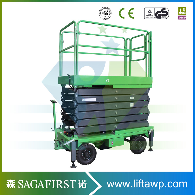 South Manual Driving 12m Lifting Height Electric Mini Scissor Lift Table, Scissor Lift On Tracks
