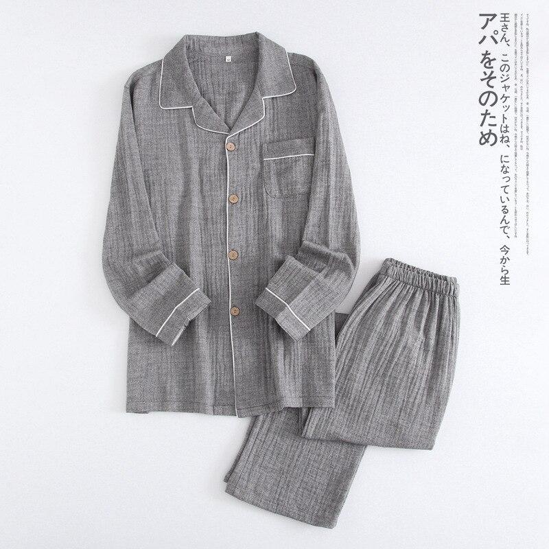 Spring Couples Pajamas Sets Women Crape Cotton Simple Pijamas Women Indoor Homewear Pijamas Mujer