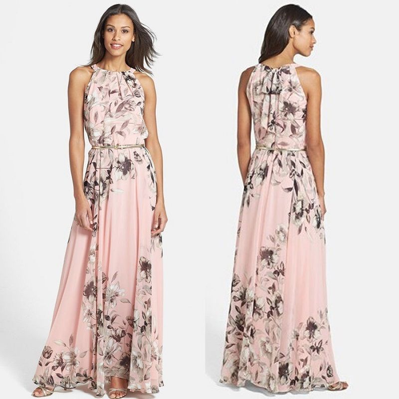 2019 NEW Women Summer Casual Floral Sleeveless Evening Party Club Wear Long Dress