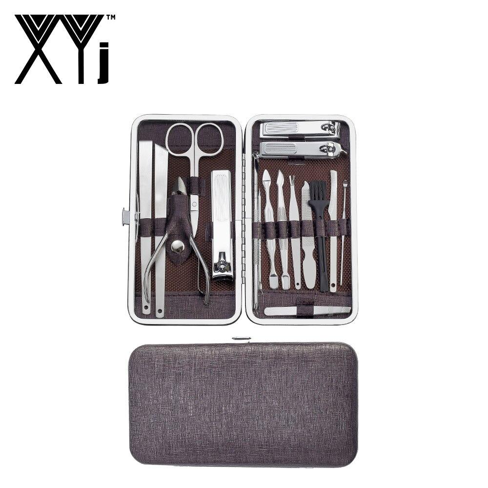XYj manucure outil pédicure ensemble coupe-ongles 17 en 1 en acier inoxydable Kit d'ongle Kit de toilettage professionnel avec étui de voyage en cuir