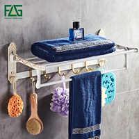 Estante para toallas de baño de aluminio con espacio de FLG, estante para toallas de baño plegable, soporte para pared, actividad de 5 ganchos, herrajes para Baño