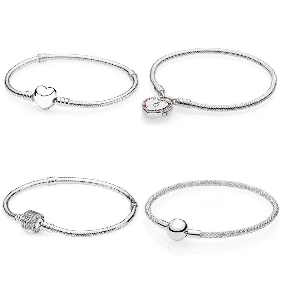 Hot style 925 Silver Bracelet Lock of love Charm Heart Charm Bracelet Fit Original DIY Jewelry Gift for womenHot style 925 Silver Bracelet Lock of love Charm Heart Charm Bracelet Fit Original DIY Jewelry Gift for women
