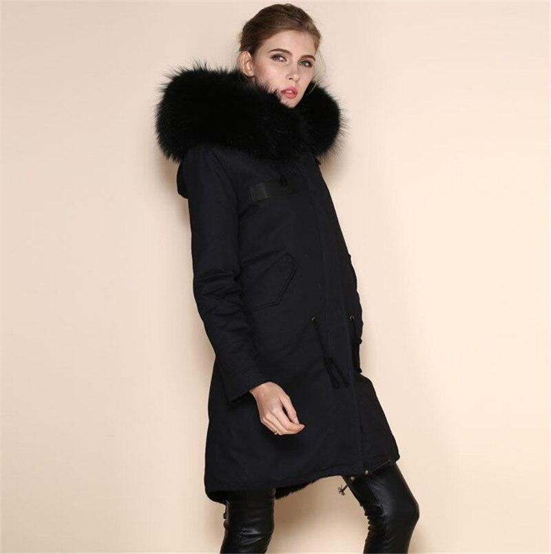 6b76060ebeb7 Fashion Faux Cool black fur parkas women neutral parka 2016 winter raccoon  fur hood coats