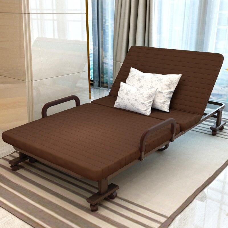 Simple Moderne Lit Pliant Simple Bureau Salon Balcon Paresseux Midi Pause Lit Pliant Doux Coton Fabirc Réglable Canapé Lit