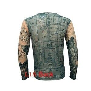 Image 5 - אופנה גברים של מזויף קעקוע חולצות ארוך שרוול אלסטי מודאלית דק כל מעל הדפסת O צוואר קעקוע חולצות נשים ליל כל הקדושים בגדים