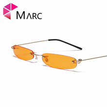 MARC UV400 WOMEN MEN 2018NEW Sunglasses Oculos Fashion Trendy Gafas Eyewear Sol Square Red Resin Small Rimless Orange Blue