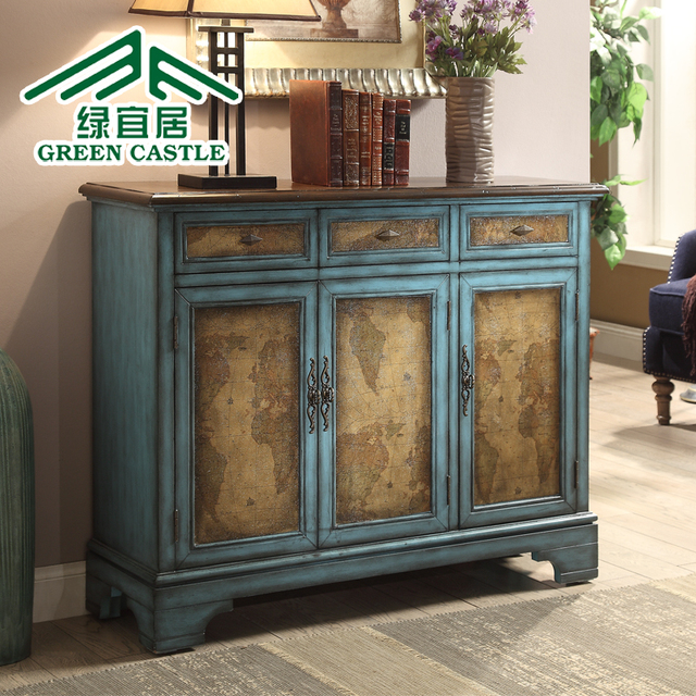 Green livable Mediterranean Antique tables minimalist living room cabinet  entrance hall cabinet shoe cabinet cut off - Green Livable Mediterranean Antique Tables Minimalist Living Room
