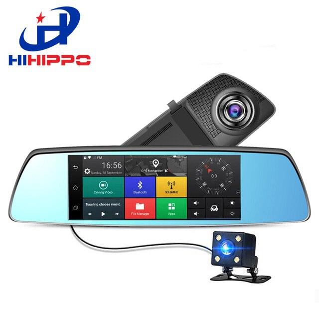 """Hihippo Автомобильный видеорегистратор 7 """"3 г тире объектив камеры GPS, Bluetooth, Wi-Fi Автомобильный видеорегистратор с камеры заднего вида HD 1080 P зеркало двойной cam Автомобильные видеорегистраторы"""