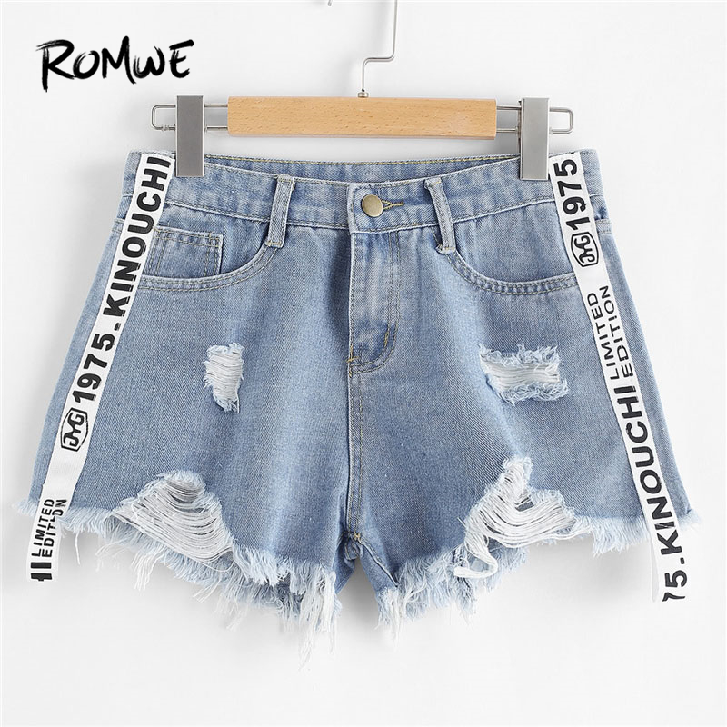 ROMWE Letter Print Denim Shorts Summer Beach Wear Button Fly Mid Waist Shorts New Design Blue Loose Shorts