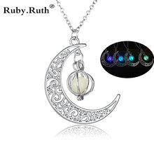Fashion Women's stone shine moon Charm Luminous Stone necklaces Pendants fashion wholesale jewelry Statement Necklace