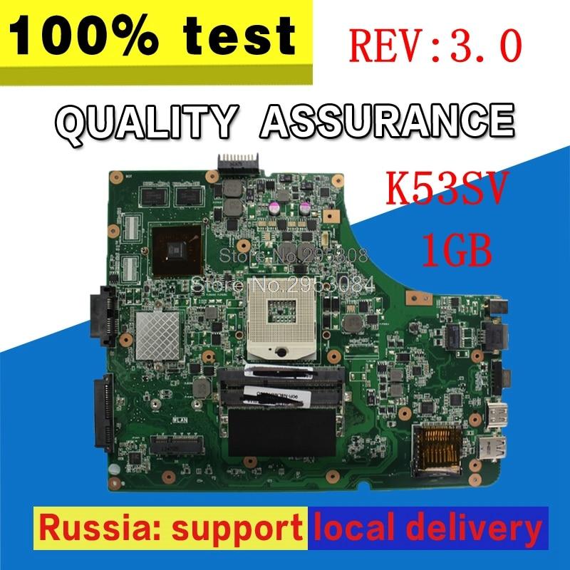 цена на K53SV Motherboard GT520 REV 3.0 1GB For ASUS k53S X53SV A53S K53SC K53SJ Laptop motherboard K53SV Mainboard K53SV Motherboard