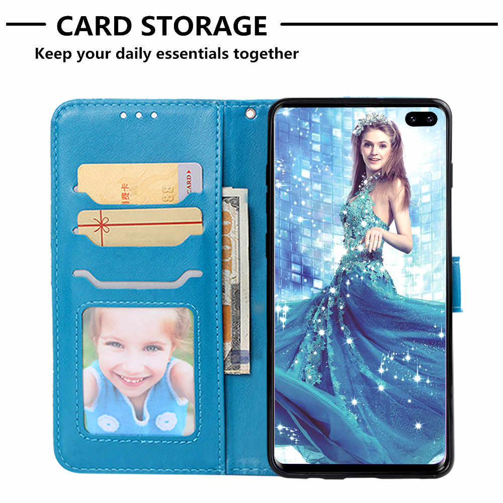 Flip Leather Book Case for Samsung Galaxy S10 Lite A6S A8S S8 S9 A6 Plus A7 2018 A9 Star Pro A9S A3 A5 2017 Fireworks Elephant