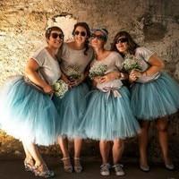 New Arrival Bridesmaid Skirt Custom Made Elastic Waistline A Line Knee Length Puffy Tulle Skirt Blue Pleated Tutu Skirts Women