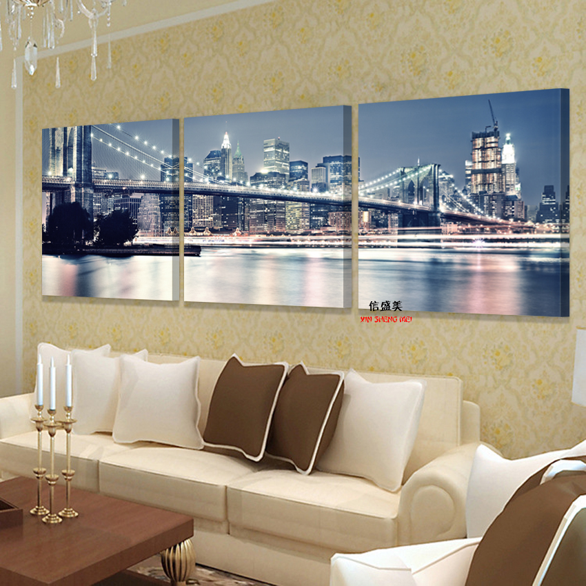 No frames picture 3 piece modern cheap home decor wall for Inexpensive home decor