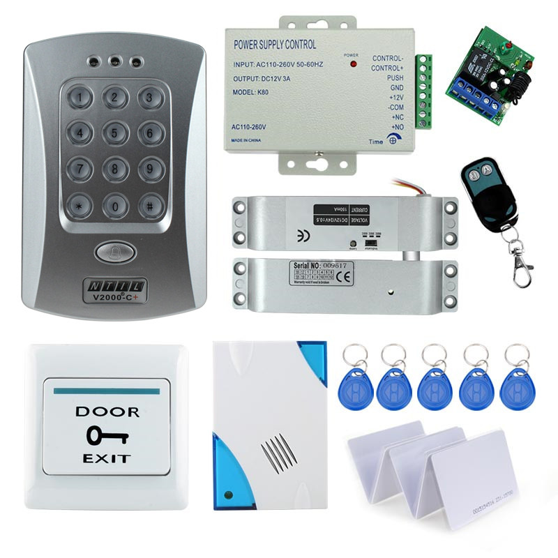 nice full electronic drop bolt lock system kit set with rfid access control keypad door bell. Black Bedroom Furniture Sets. Home Design Ideas