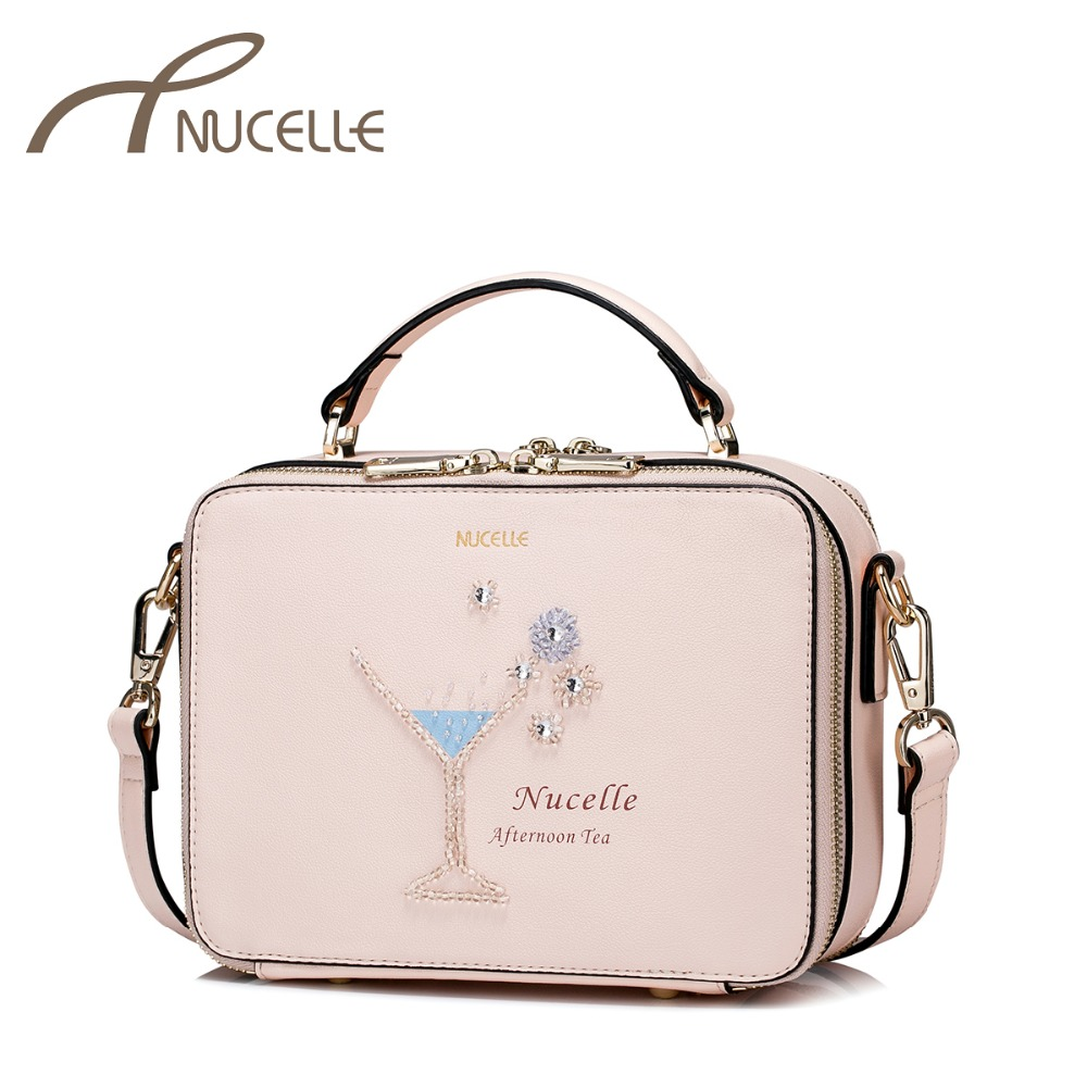 NUCELLE Women's PU Leather Handbags Ladies Fashion Afternoon Tea Messenger Tote Purse Female Leisure Beading Flap Bags NZ4038