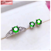 Natural Diopside Jewelry sets for Women Accessories real gems Heart Simple style fine Jewelry Ring/Stud Earring S925 silver #133
