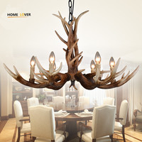 Resin antler chandelier indoor home lighting for Living room Bedroom Kitchen Lustre E14 110V 220V LED Antler Chandelier