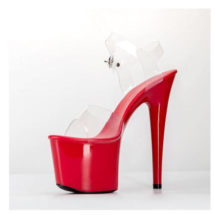 2018 летние сандалии на платформе женские сексуальные ПВХ прозрачные тонкие ультра высокие каблуки 17 см обувь женские сандалии женские туфли...