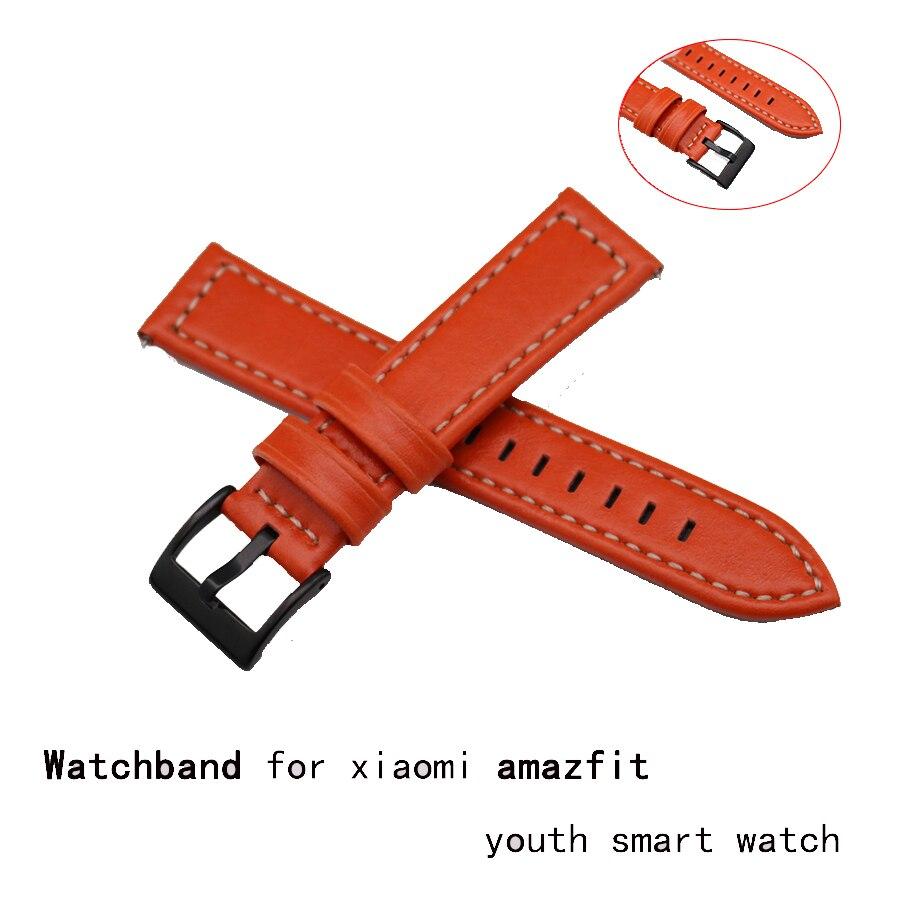 RDA Fashion Genuine Calf Leather Watch Band For Original Xiaomi Huami Amazfit Bip BIT PACE Lite