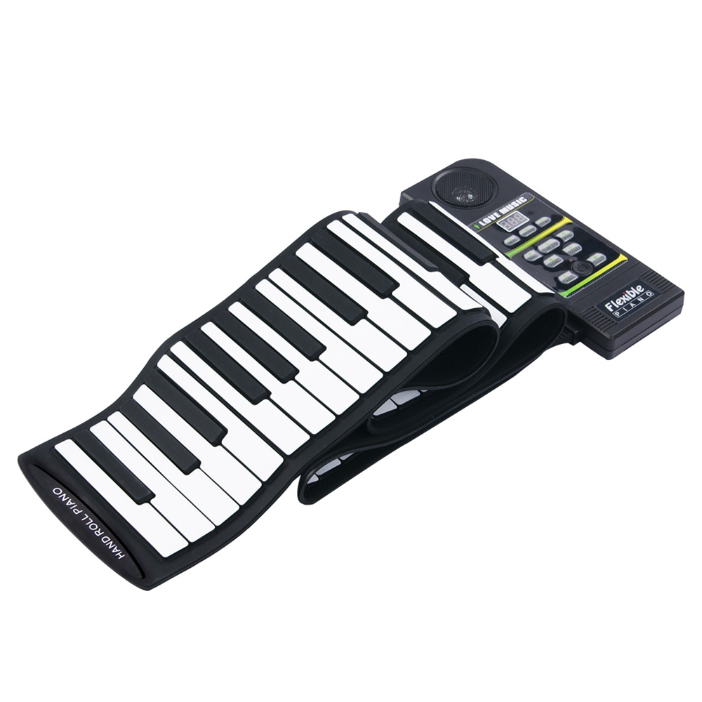 US $69 69 35% OFF|Portable Flexible 88 Keys Keyboard Piano 28 Tones 100  Rhythms Electronic Roll Up Piano USB & MIDI Port with Speaker for Kids-in