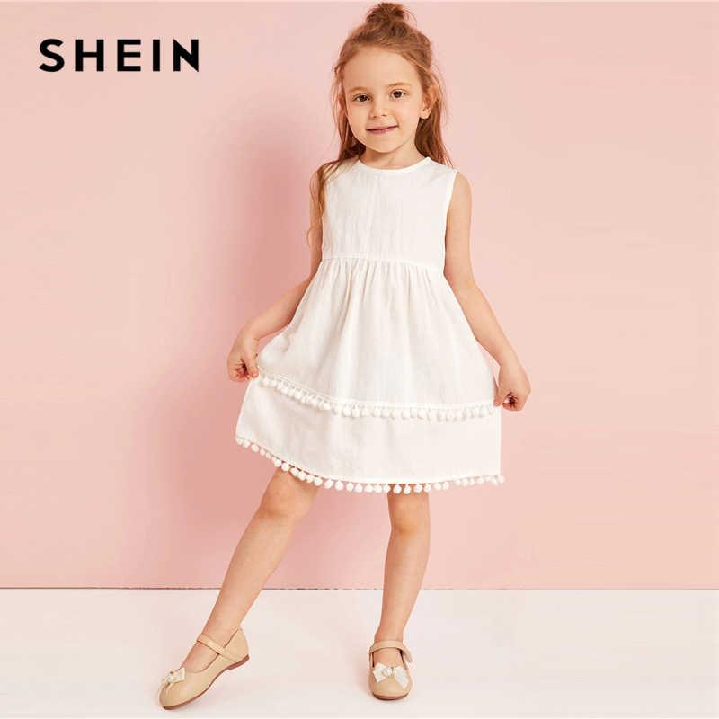 8c9aa1eb0b9df SHEIN Kiddie Girls Contrast Stitch Ruffle Trim Casual Tunic Dress ...
