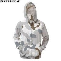 Camo 3D Zip Hoodies Men Zipper Sweatshirt 6xl Tracksuit Hooded Coat Pullover Hoody Off White Coat Harajuku Drop ship ZOOTOP BEAR