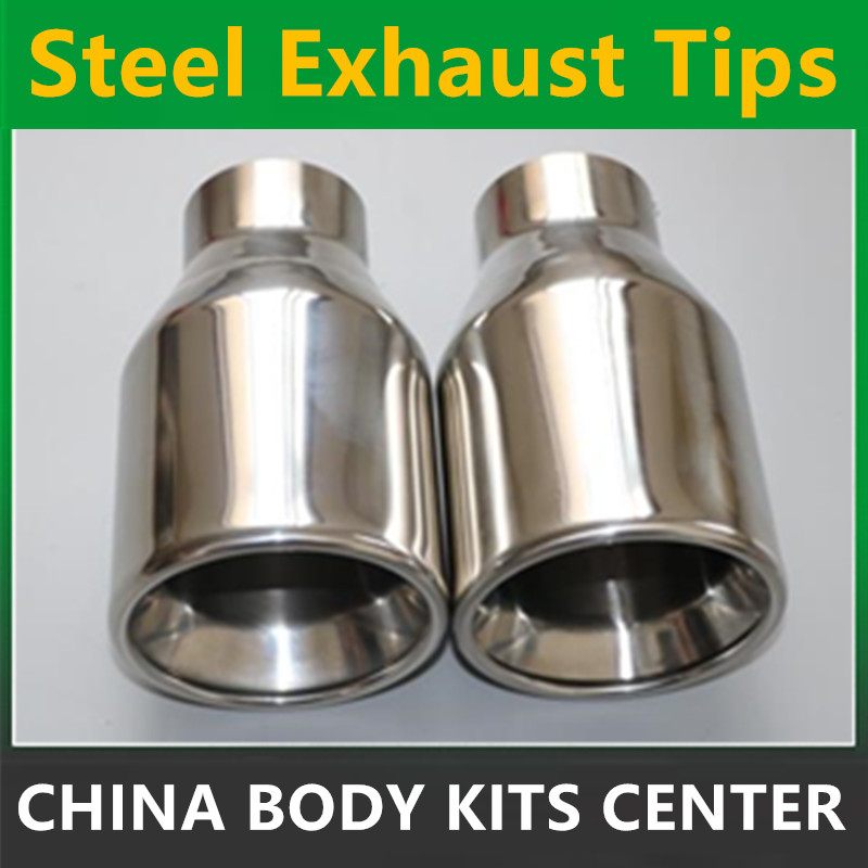 New Universal 1pcs 63mm 102mm Chrome Stainless Steel Car Rear Round Exhaust Pipe Tail Muffler Tip