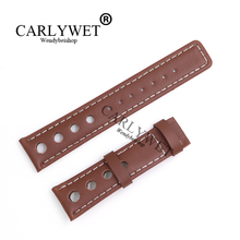 CARLYWET 20mm Popular Real Calf Leather Handmade Brown With White Stitches Wrist Watch Band Strap Belt For T91 PRS516 аксессуары tissot prs516 22 20mm 20 18mm t91 t044