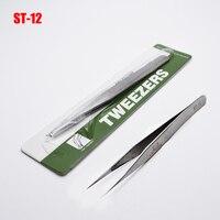 1 pcs Aço Inoxidável Vetus Pinças eletrônicos HRC 40 Ferramentas Herramientas Precisão Diy Ferramentas Manuais Pinças ST 12|stainless steel tweezers|steel tweezers|hand tools -