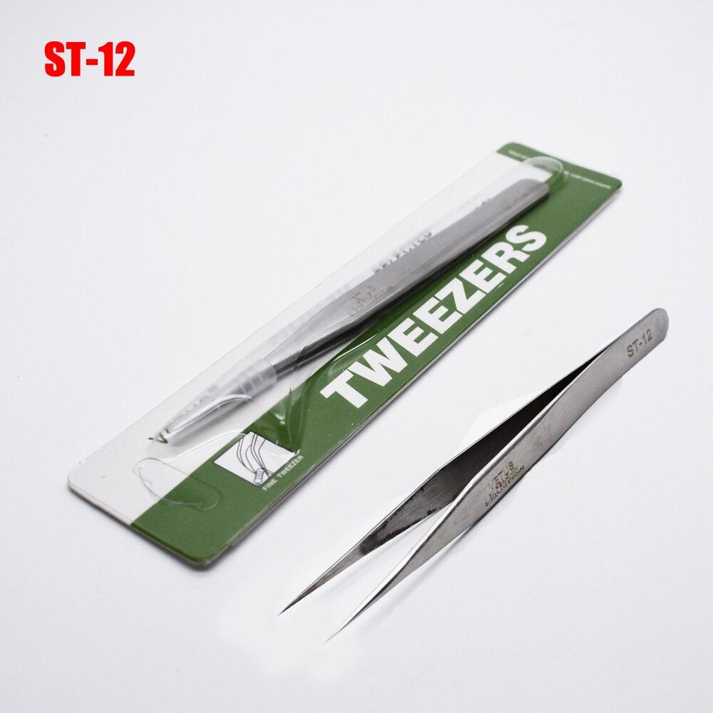 1pcs Vetus Stainless Steel Tweezers electronic HRC-40 Herramientas Ferramentas Precision Diy Tweezers Hand Tools ST-12 ...