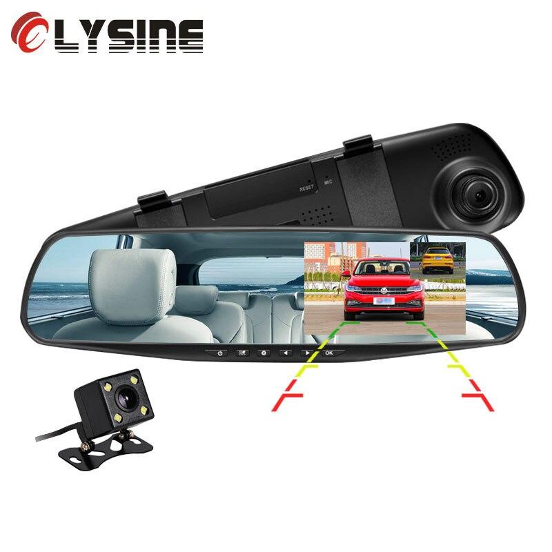Olysine Car DVR Dash-Cam Dual-Lens 2-Cameras Auto Video-Recorder Rearview-Mirror Registrar