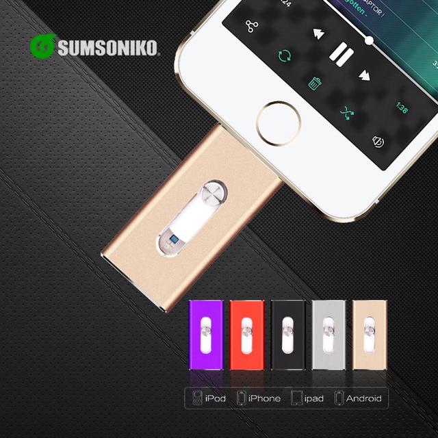 Para iphone6 plus 6 5S unidade flash usb ios android móvel MicroUSB OTG Pendrive HD memoria vara Dupla finalidade 32 GB 64 GB