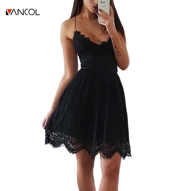 675e7ebbfec Vancol sexy dos nu v cou nigh club mini robe noire dames robe avec dentelle  sans