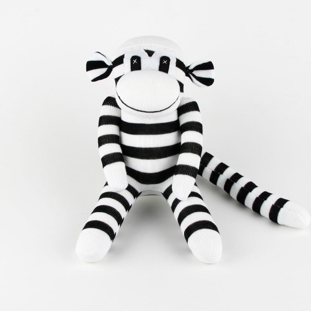 Handmade Stuffed Animals Plush Black White Sock Monkey Baby Shower