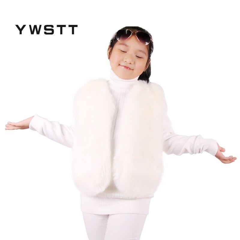 Ywstt Children's Fur Vest Imitation Fox Fur Coat 2017 Kids Warm Vest Waistcoat Children Winter Jacke Faux Fur Coat For boys girl etosell women faux fox fur shaggy waistcoat long hair lapel vest coat camel l